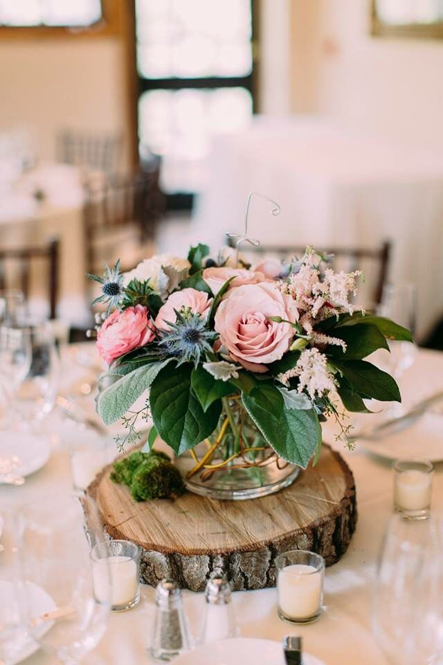 Rustic Wood Slab Centerpieces Into Your Wedding