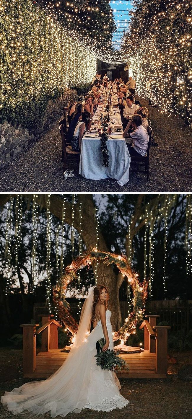 Romantic String Light Wedding Ideas